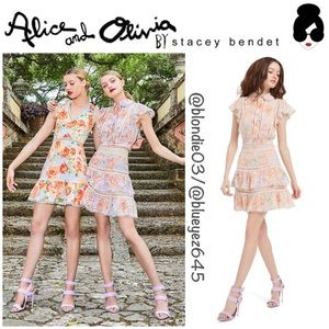 Alice + Olivia Kirsten embroidered eyelet skirt 2